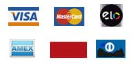 Trabalhamos com os cartões Visa, Master, Elo, Amex, Hipercard e Diners Club